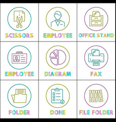 business linear bright round icons templates set vector image