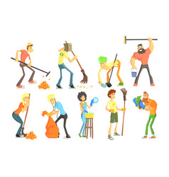 Cartoon men and women cleaning in house and vector