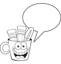 Cartoon pencil cup with a caption balloon vector