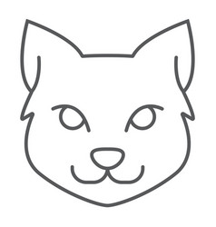 cat thin line icon halloween and pet animal sign vector image