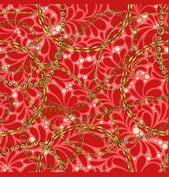 chains on damask flat seamless pattern vector image