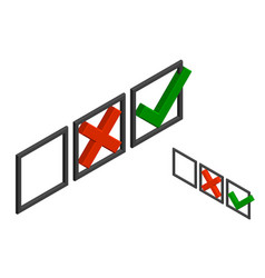Checkmark icons tick and cross sign 3d vector