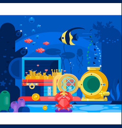 chest gold in sand under watermarine life vector image