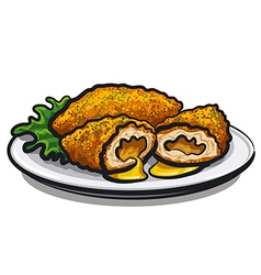 Chicken kiev cutlet vector