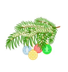 Christmas branch with and vintage baubles vector