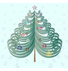 Christmas tree on cyan background vector