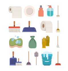 Cleaning service elements colorful silhouette on vector