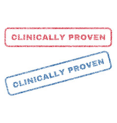 Clinically proven textile stamps vector