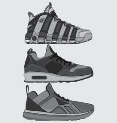 Collection street shoes vector