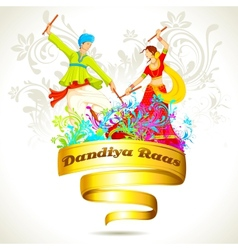 Couple playing Dandiya on Navratri vector image