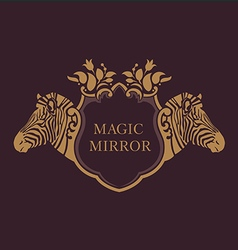 creative emblem of the magic mirrorzebra vector image