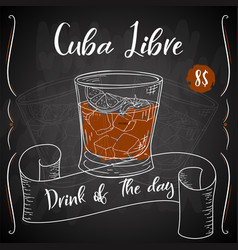 Cuba libre cocktail hand drawn drink on white vector