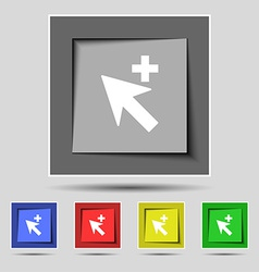 Cursor arrow plus add icon sign on the original vector image