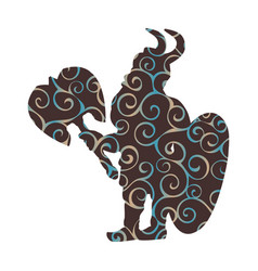 dwarf pattern silhouette warrior hero fantasy vector image