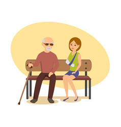 Elderly man with cane sits on bench next to girl vector