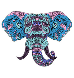 elephant head boho zentangle doodles vector image vector image