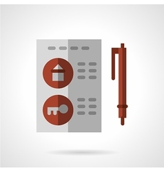 Flat color housing agreement icon vector