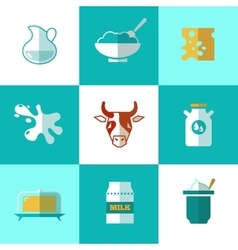 Flat milk and dairy products icons vector image