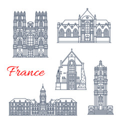 France rennes architecture landmarks icons vector