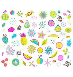 Fruits vegetables mix clip art colorful collection vector