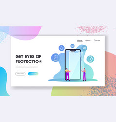 Gadget touchscreen safety landing page template vector