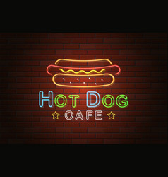glowing neon signboard hotdog cafe on brick wall vector image