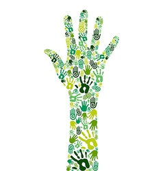 Go green collaborative hands vector image