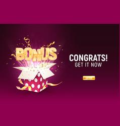 Golden bonus word flying from textured gift box on vector