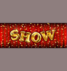 Golden show poster template with shining golden vector
