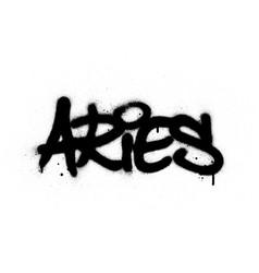 Graffiti aries word sprayed in black over white vector