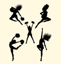 Happy dancer cheerleader silhouette vector