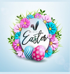 Happy easter holiday design with painted and vector