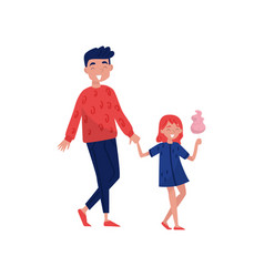 happy young father walking with his daughter cute vector image