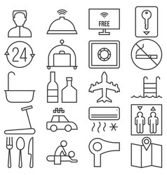 Hotel service and facilities outline icon vector