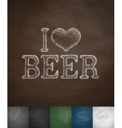 I love beer icon vector