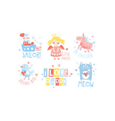 I love daddy childish prints collection baby vector