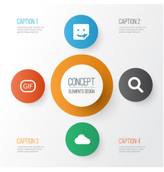 Internet icons set collection of overcast chat vector