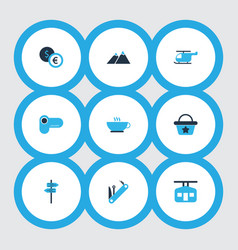 Journey icons colored set with pointers ski cabin vector