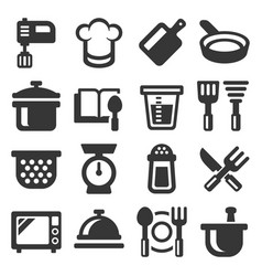 kitchen and cooking icons set on white background vector image