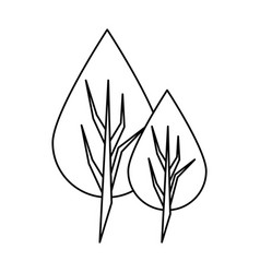 Leaf nature botanic plant cartoon in black and vector
