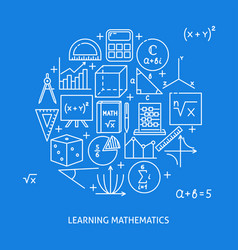 Learning mathematics round banner in line style vector