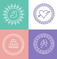 Linear wedding logos and icons outline design for vector