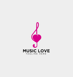Love music symbol or logo template icon element vector