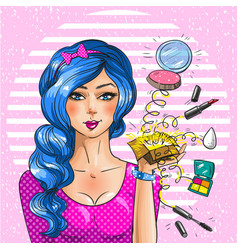 Makeup artist vintage pop art vector
