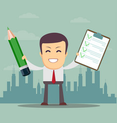 Man holding a pencil and list of tasks or vector