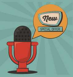 New special offer microphone vintage poster vector