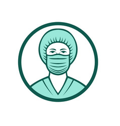 Nurse wearing surgical mask icon vector