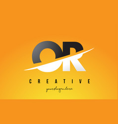 Or o r letter modern logo design with yellow vector