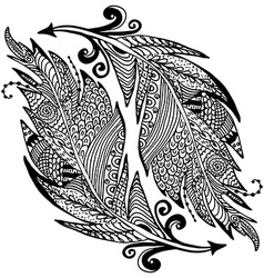 ornamental hand drawn sketch feathers in vector image