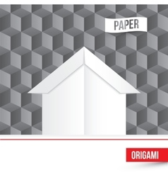 Paper origami house icon on 3d cube vector
